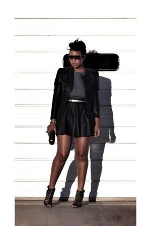 black blank nyc jacket - black Zara bag - black Vince Camuto sandals
