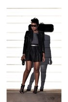 black blank nyc jacket - black Zara bag - black Vince Camuto sandals