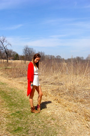 red kimono Apricot Lane blouse - brown booties Target boots
