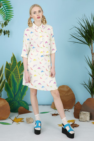 bubble gum THE WHITEPEPPER skirt - ivory THE WHITEPEPPER shirt