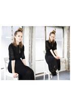 black knitted THE WHITEPEPPER dress