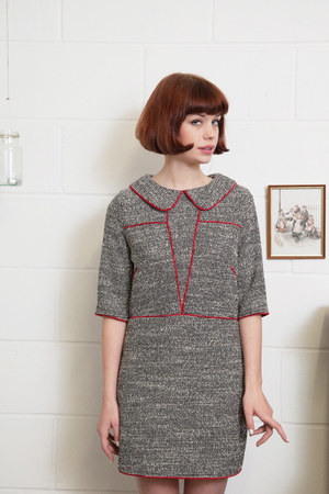 heather gray red trim THE WHITEPEPPER dress