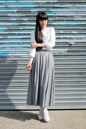 silver long skirt THE WHITEPEPPER skirt