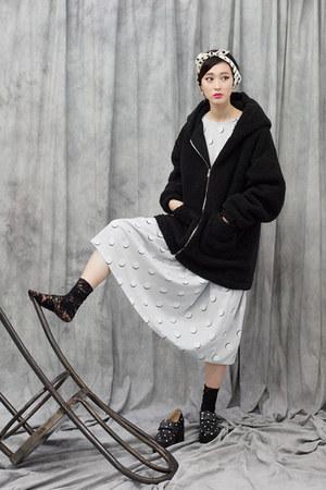 black THE WHITEPEPPER coat - heather gray THE WHITEPEPPER dress