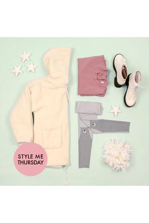 ivory THE WHITEPEPPER coat - white boots - pink THE WHITEPEPPER dress