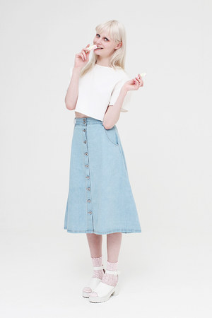 sky blue THE WHITEPEPPER skirt - white THE WHITEPEPPER shoes