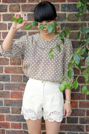 light brown polka dot THE WHITEPEPPER blouse