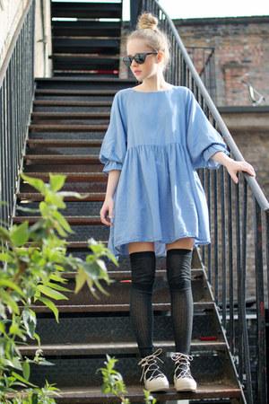 sky blue denim THE WHITEPEPPER dress