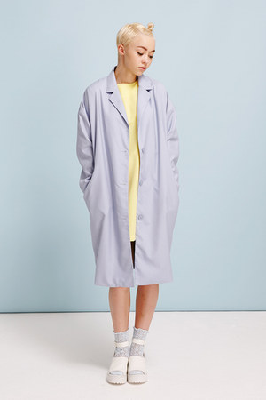sky blue THE WHITEPEPPER coat - light yellow THE WHITEPEPPER dress