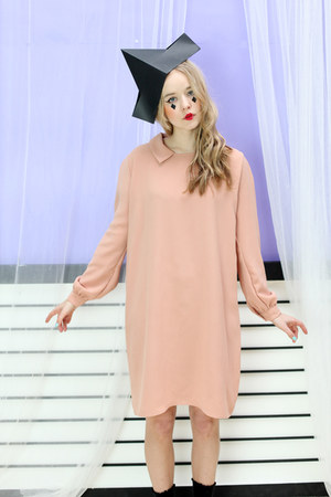 peach simple dress THE WHITEPEPPER dress