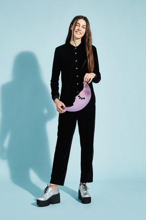 black velvet jumpsuit THE WHITEPEPPER romper - pink THE WHITEPEPPER bag
