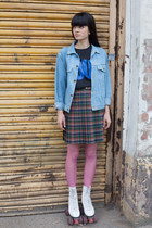 maroon THE WHITEPEPPER skirt - sky blue THE WHITEPEPPER jacket