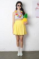 yellow pleated THE WHITEPEPPER skirt
