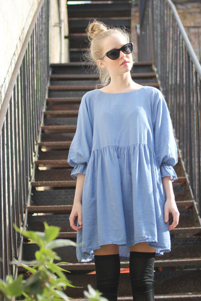 sky blue boxy dress THE WHITEPEPPER dress