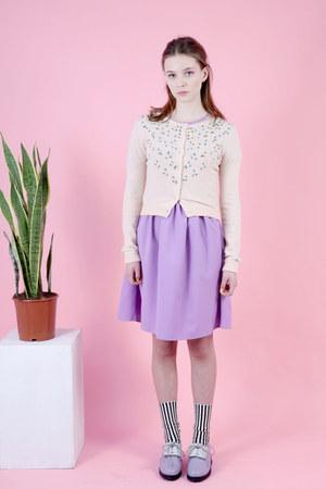 light purple THE WHITEPEPPER dress - cream THE WHITEPEPPER cardigan