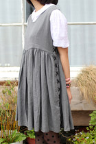 Heather Gray Lace Up THE WHITEPEPPER Dresses
