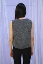 Charcoal Gray Crop Top MIXED COLOUR CROP TOP Vests