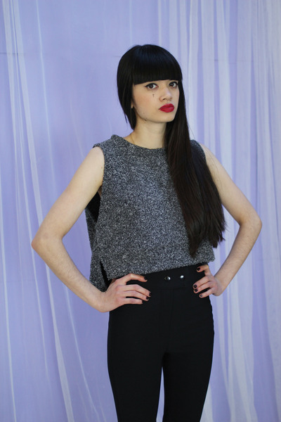 charcoal gray crop top MIXED COLOUR CROP TOP vest
