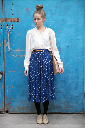 navy long skirt THE WHITEPEPPER skirt