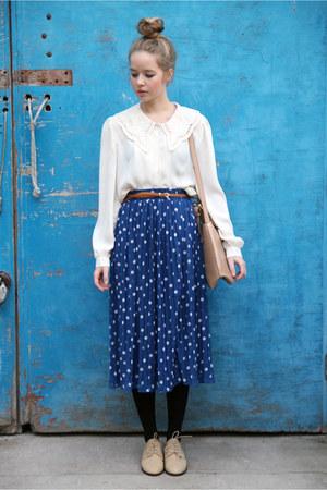 navy polka dots THE WHITEPEPPER skirt