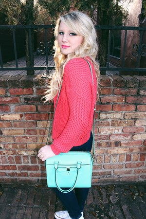 coral knit Urban Outfitters sweater - aquamarine girly kate spade bag