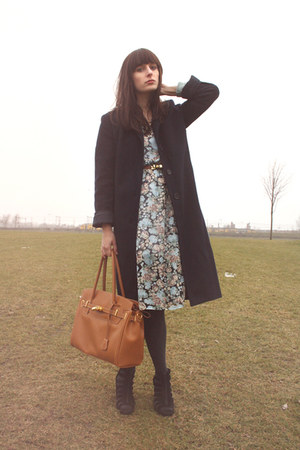 light blue floral print Monki dress - navy benetton coat - tawny p&c bag - tawny