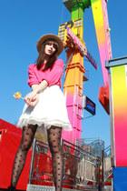 hot pink H&M sweater - black romwe tights - white BikBok skirt