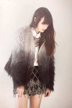 black fur H&M coat - black River Island shorts - gold Zara necklace
