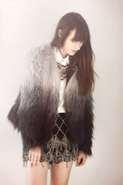 black fur H&M coat - black River Island shorts - gold Zara necklace