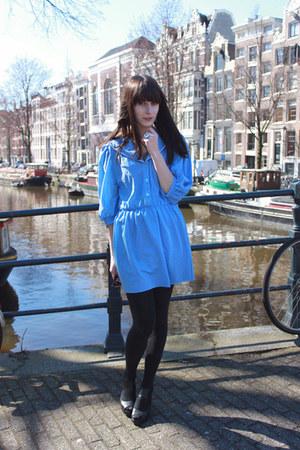 sky blue polkadot vintage dress