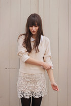 neutral lace miss patina skirt - neutral H&M sweater