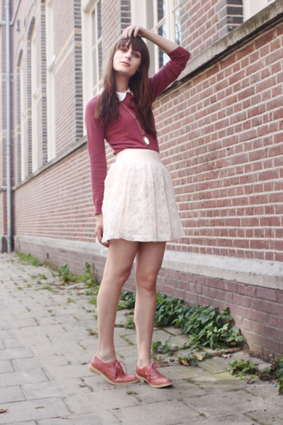 pink romwe shoes - pink Primark sweater - white Primark top
