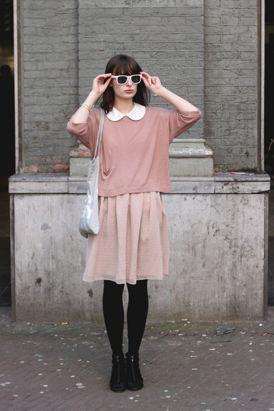 black H&M shoes - light pink River Island dress - pink H&M sweater - light blue