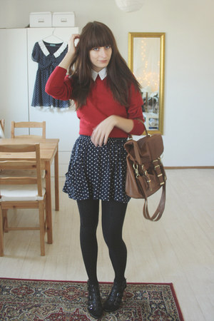 navy polkadot Zara skirt - black Graceland shoes - brick red vintage sweater