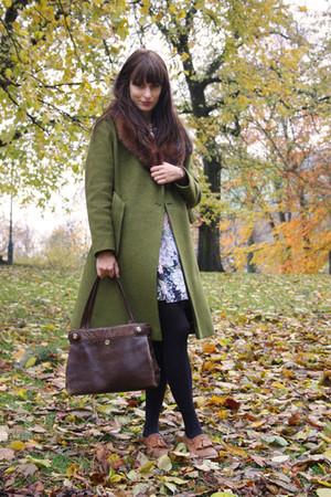 green vintage coat - brown vintage bag - black vintage skirt - brown Topshop sho