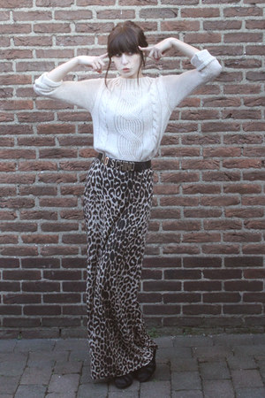 black H&amp;M shoes - off white Zara sweater - brown leopard-print Primark skirt - b