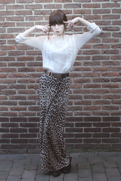 black H&M shoes - off white Zara sweater - brown leopard-print Primark skirt - b