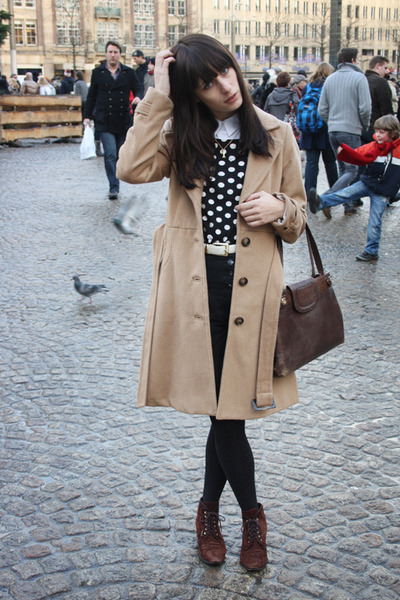 black Topshop sweater - crimson vintage shoes - camel H&M coat