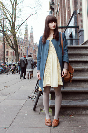 tawny Topshop shoes - cream Primark dress - blue H&M coat - tawny Primark bag