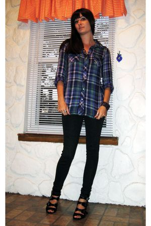 purple Old Navy shirt - black Forever 21 leggings - black shoes - purple Mandee