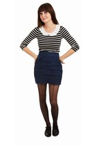 off white Black and white stripes top with Peter Pan lace trim at yoke top - vio