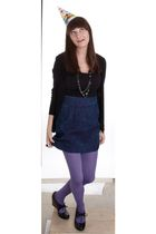 black Old Navy top - purple Silence  Noise skirt - black Forever21 cardigan - pu