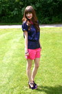 Hot-pink-new-york-company-shorts-hot-pink-charming-charlie-necklace