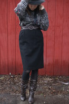 grandpa sweater thrifted sweater - a long time ago Target boots - vintage hat