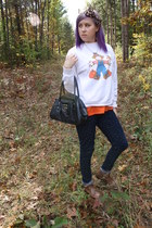 vintage sweater - vintage bag Tommy Hilfiger bag - pumpkin face Meijer t-shirt