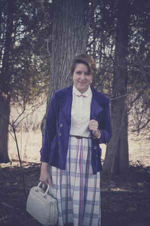 deep purple velvet blazer vintage blazer - cream vinage shirt