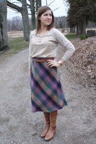 thrifted vintage skirt - knee high boots sam edelman boots