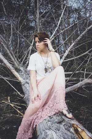 light pink maxi skirt thrifted skirt - off white bambi crop top Disney shirt