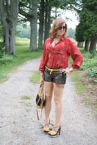 ruby red floral shirt vintage shirt - brown sparkle shorts Express shorts