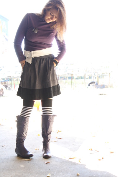 purple Old Navy top - deep purple knee high boots thrifted boots